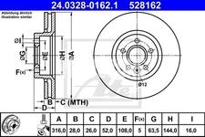 Predný brzdový kotúč (316mm) P3 S60 II(XC)/V60(XC) S80 II/V70 III/XC70 III drážkovaný