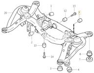 Uloženie zadnej nápravnice - zadné spodné priečne rameno P2 XC90