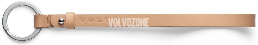 Kožený remienok na kľúče Volvo, 18cm bledo hnedý